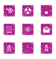 Radiology icons set grunge style vector