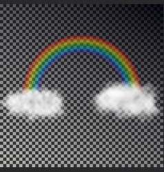 rainbow arch with white clouds isolated on checker vector image