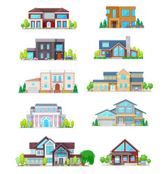 real estate house building and cottage home icons vector image