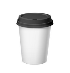 Realistic white disposable paper cup with black vector