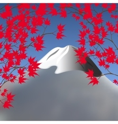 Red maple leaves on branches on both sides vector