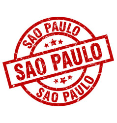 Sao paulo red round grunge stamp vector