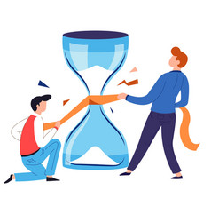 Saving time concept hourglass repairing isolated vector