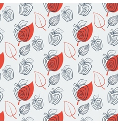 Seamless pattern with appleAppleredleaf vector image