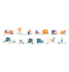 set characters eating fast food meals tiny vector image