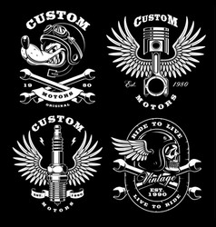 Set of 4 vintage biker on dark background 2 vector