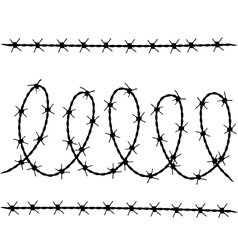 Set of barbed wire silhouettes vector