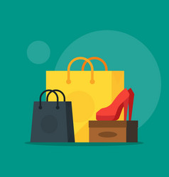 shoe and cosmetics with shopping bag showing sale vector image