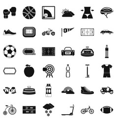 Sport cycling icons set simple style vector