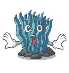 Surprised blue seaweed cartoon under sea water vector