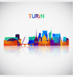 turin skyline silhouette in colorful geometric vector image