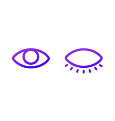 two web icons open and closed eye purple gradient vector image