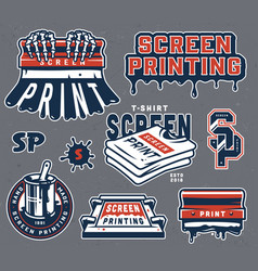 Vintage screen printing composition vector