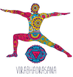 Virabhadrasana pose in yoga vector