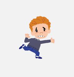 White boy in jeans runs alarmed vector