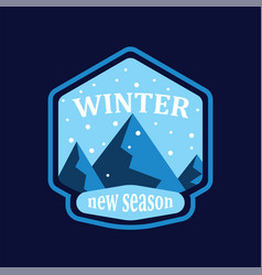 winter mountain and snowfall in round on blue vector image
