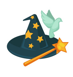 Witch hat with stars magic wand and dove isolated vector