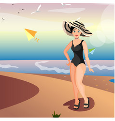 women on the beach vector image