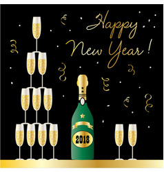happy new year stacked champagne glasses vector image