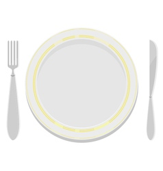 plates with a gold rim with a fork and knife vector image vector image