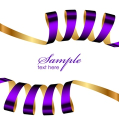 purple and gold ribbon frame vector image