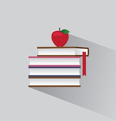 symbol stack of books and red apple vector image vector image