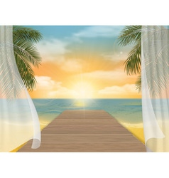 View of the sea beach on sunset vector image