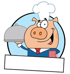 Waiter Pig Serving Food On A Platter vector image