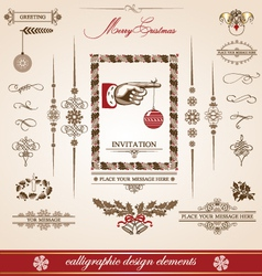 christmas and new year set of calligraphic vector image vector image