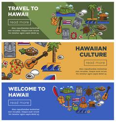 hawaii travel posters of hawaiian famous vector image vector image