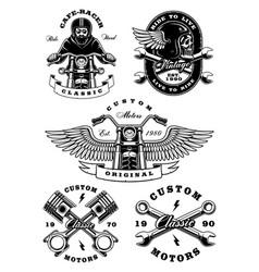 Set of 5 vintage biker on white background 2 vector