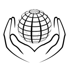 hands holding a globe vector image vector image