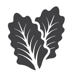 lettuce solid icon vegetable and salad leaf vector image vector image