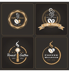 Set of round coffee shop badges and labels vector image