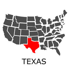 state of texas on map of usa vector image
