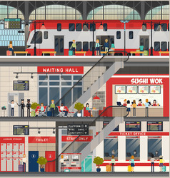 Train or locomotive station metro or subway vector