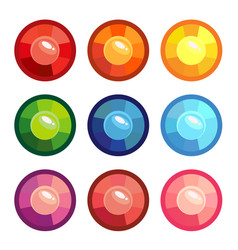 a set of colored round gems vector image