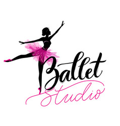 dance studio logo with young ballerina vector image vector image