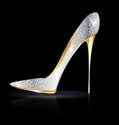 silver golden shoe vector image vector image