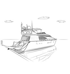 sketch of white yachts vector image