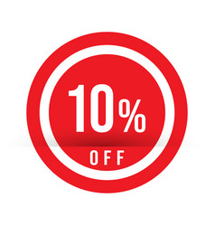 10 percent off - red sale stamp - special offer vector image