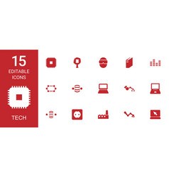 15 tech icons vector image