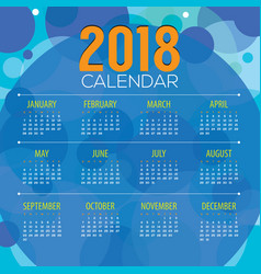 2018 abstract graphic printable calendar vector