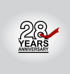 28 years anniversary logotype with black outline vector