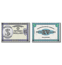 a fictional us banknote 15 dollars kentucky vector image