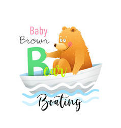 Abc for kids funny baby bear for letter b vector