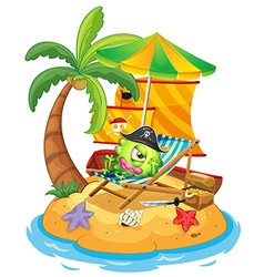 An island with a monster pirate vector image