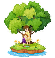 An island with a mother and a daughter vector