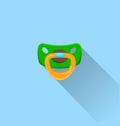 Baby pacifier icon with long shadow dummy vector