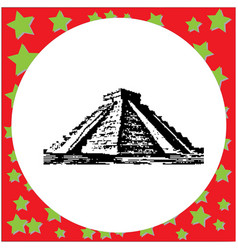 Black 8-bit pyramid kukulkan in the mayan vector